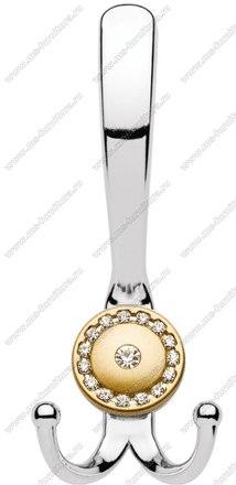 Крючок со стразами большой хром+матовое золото 13.148-06/04 1