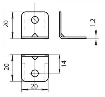 Уголок Grandis малый металлический 20х20 мм 2