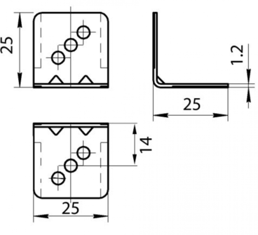 Уголок GRANDIS металлический 25х25 мм 3