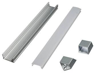 Алюминиевый профиль для диодных лент 1307Е накладной, 13,2х7мм, L-2м, без диффузора 1