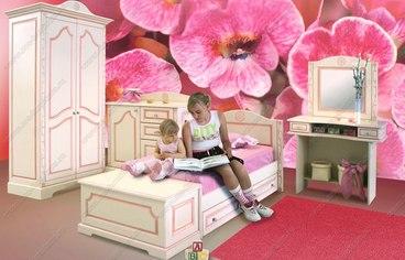 Детская с фасадами МДФ с розовой патиной 2