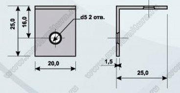 Уголок мебельный металл 25х25х20, 2 отв 2
