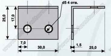 Уголок мебельный металл 25х25х30, 4 отв 2
