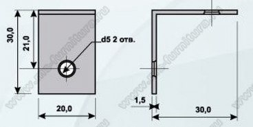 Уголок мебельный металл 30х30х20, 2 отв 2