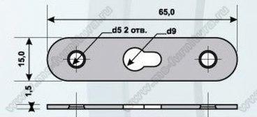 Подвеска 2 шурупа, прорезь посредине (65х15) 2