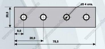 Полоса крепежная 78.5х20, 2 отв. 2