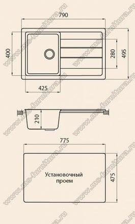 Кухонная мойка из камня G018 3