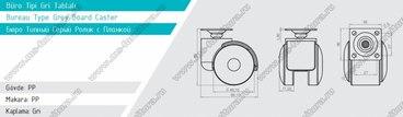 Серое пластиковое колесо d49 мм нагрузка 30 кг №417 2