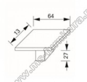 Ручка-кнопка хром+полированная сталь 67-CR+NB 3