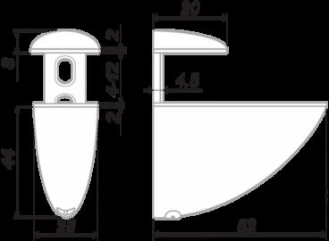 Полкодержатель Тукан малый матовый хром P505SC.2 BOYARD 2