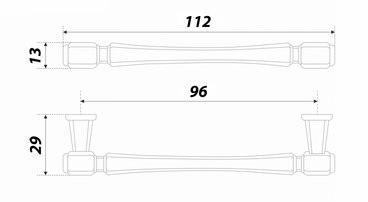 Ручка-скоба 96 мм старинная латунь GRETA RS310AB.4/96 4