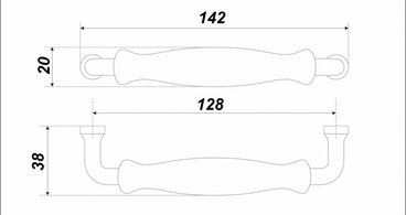 Ручка-скоба 128 мм с керамикой LUNA RS108CP.4/128/W 3