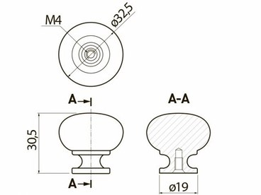 Ручка-кнопка алюминий GS-BERGA-1-05 2