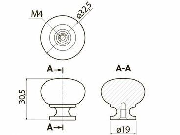 Ручка-кнопка черный матовый GS-BERGA-1-20M 2