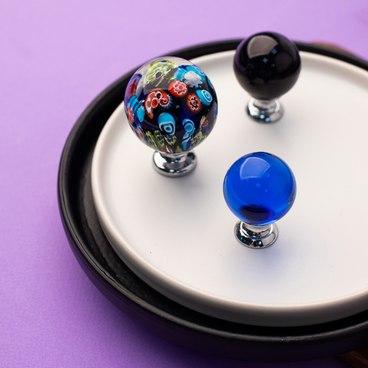Ручка-кнопка синее стекло + хром KF10-13 2