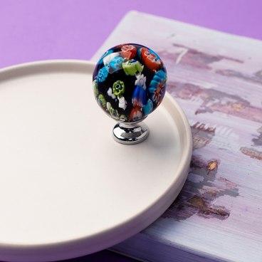 Ручка-кнопка разноцветное стекло + хром KF11-14 3