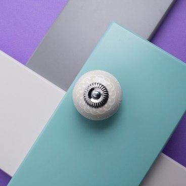 Ручка-кнопка бежевая керамика с узором KF13-17 2