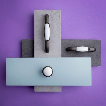 Ручка-кнопка с керамикой серый KF07-11 GR 2