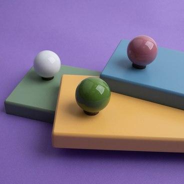 Ручка-кнопка зеленая керамика KF12-15 3