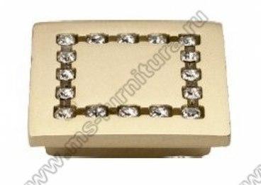 Ручка-кнопка со стразами 32 мм матовое золото 5320-04 1