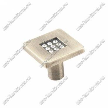 Ручка-кнопка со стразами античная бронза CRL 03 BA 1