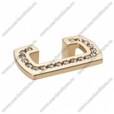 Ручка-скоба 32 мм матовое золото со стразами 5391-04 1