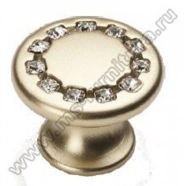 Ручка-кнопка со стразами 35 мм матовое золото 6069-04 1