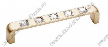 Ручка-скоба со стразами 128 мм матовое золото 5415-04 1