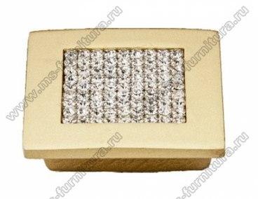 Ручка-кнопка со стразами 32 мм матовое золото 5322-04 1