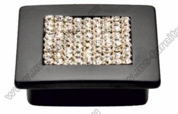 Ручка-кнопка со стразами 32 мм матовый черный 5322-012 1