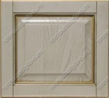 Фасад Классика прямая из ясеня цвет белый с золотой патиной 1