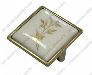 Ручка-кнопка 32 мм с керамикой Золотой колосок 5352-08-040 1