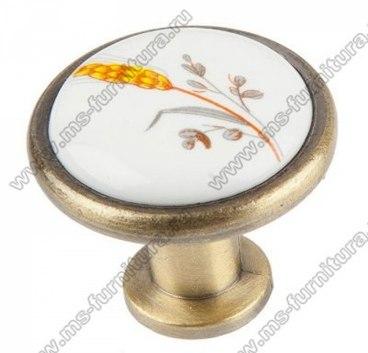 Ручка-кнопка бронза с керамикой Колосок KF02-02 1