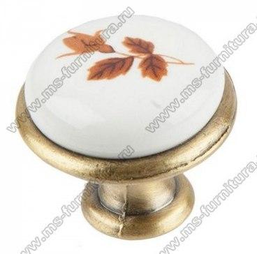 Ручка-кнопка бронза с керамикой Клены KF01-01 1