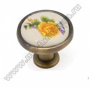 Ручка-кнопка бронза с керамикой KF02-06 BA 1