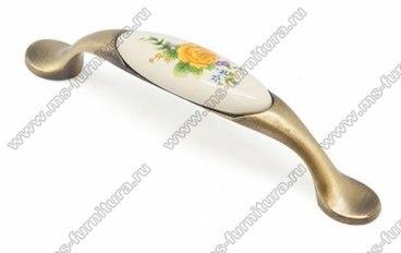 Ручка-скоба 96 мм бронза с керамикой SF02-06-96 BA 1