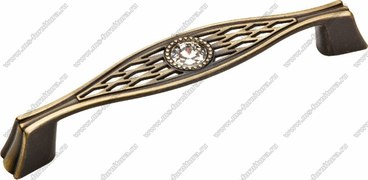 Ручка-скоба 96 мм со стразами античная бронза 5438-08 1