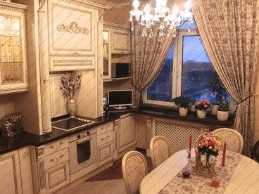 Кухня с фасадами Олимпия бук Белый с золотой патиной 1