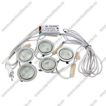 Комплект светильников на 5 лампочек сатен 1