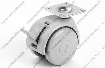 Серое пластиковое колесо d49 мм нагрузка 30 кг №425 1