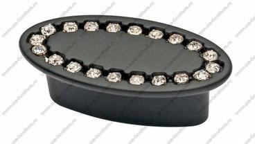Ручка-кнопка 32 мм матовый черный со стразами 6093-012 1