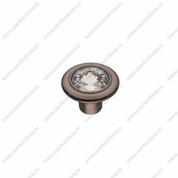Ручка-кнопка со стразами черным хром CRL-35 BN 1