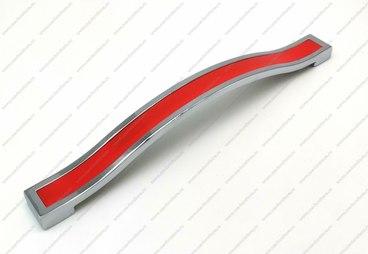Ручка-скоба 224 мм хром+красный BTX-224-02/08 1