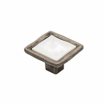 Ручка-кнопка с керамикой черненый старинный цинк KF08-11 BAZ 1