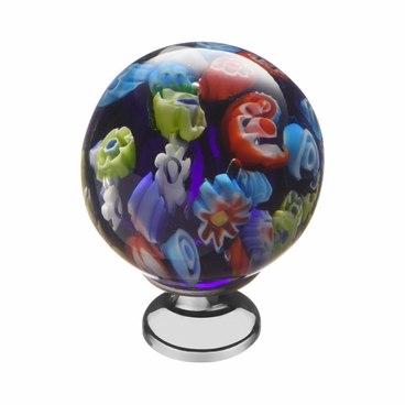 Ручка-кнопка разноцветное стекло + хром KF11-14 1