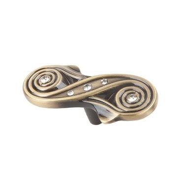 Ручка-кнопка со стразами античная бронза CRL13 BA 2