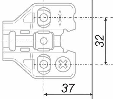 Планка ответная для петель NEO с эксцентриковой регулировкой H5010 2