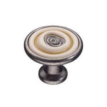 Ручка-кнопка с керамикой черненый старинный цинк KF19-18 BAZ 1