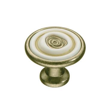 Ручка-кнопка с керамикой атласная бронза KF19-18 MAB 1