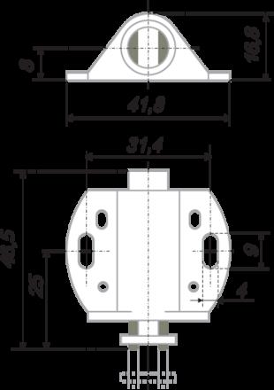 Магнитный держатель для 1 стеклянного фасада белый MH01/W 2